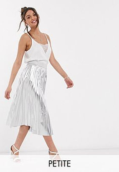 John Zack exclusive metallic pleated midi skirt in silver