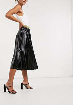 John Zack pleated metallic midi skirt in black