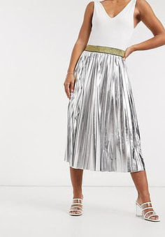 John Zack pleated metallic midi skirt in silver