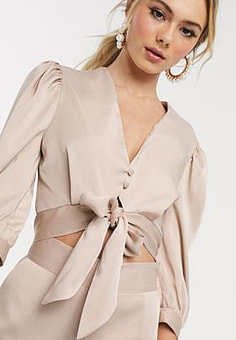 John Zack satin button through top with tie front detail in cream-White