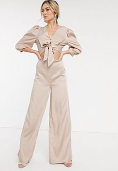 John Zack satin wide leg trouser in cream