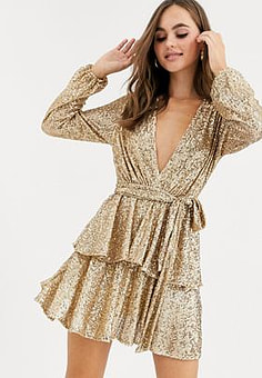 John Zack sequin plunge front skater dress in contrast in gold