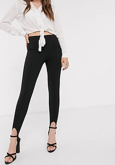John Zack stirrup detail legging in black
