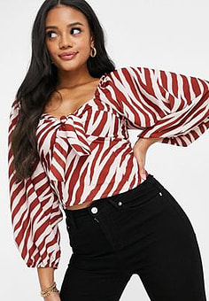 John Zack tie front blouse in red zebra print-Multi
