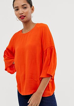 Just Female Garner Fluted Sleeve Blouse-Orange