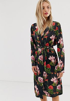 Just Female Natalia floral print wrap dress-Black
