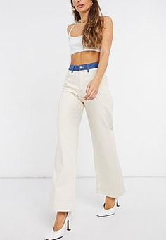 Just Female Sika high waist contrast jeans in cream-White