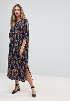 Just Female Tia Floral Print Slit Shift Dress-Navy