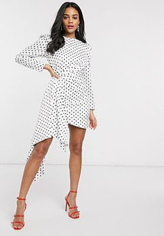 Keepsake Foolish polkadot mini dress in porcelain polka dot-White