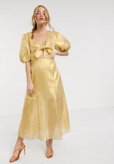 Keepsake metallic caution midi dress in yellow
