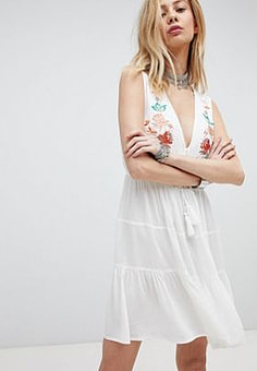 Kiss The Sky Embroidered Boho Dress With Plunge Front-White