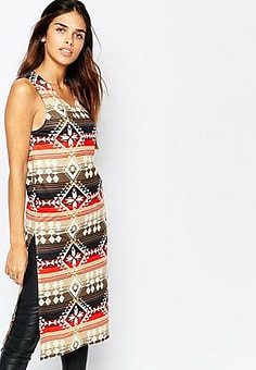 Kiss The Sky Midi Tabbard with Side Splits in Aztec Print-Multi