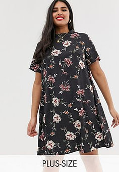Koko high neck floral shift dress-Multi