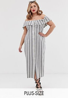 Koko stripe bardot dress-Multi
