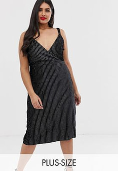 Koko velvet pinstripe midi dress-Black