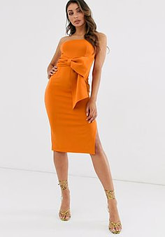 Laced In Love bandeau maxi scuba dress with bow detail in burnt orange