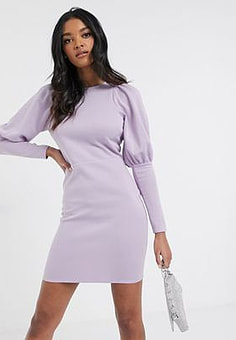 Laced In Love mini dress with exaggerated shoulder in ultra violet-Purple