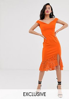 Laced In Love scuba bardot pencil dress with lace frill hem in orange
