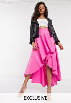 Laced In Love statement high low skirt in hot pink