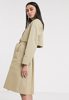 Lacoste belted trench coat in tan-Brown