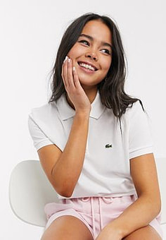 Lacoste classic polo shirt with croc logo in white