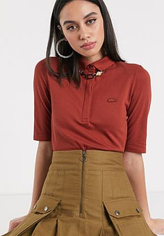 Lacoste knitted polo in burgundy-Red