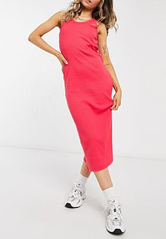 Lacoste racer back midi dress in bright red
