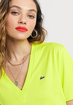 Lacoste v neck t-shirt-with croc logo in yellow