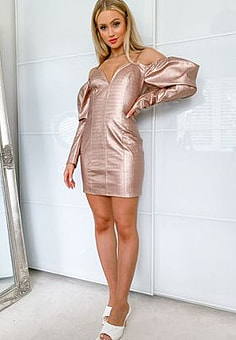 Lashes of London pu cold shoulder mini dress in with puff sleeve detail in rose gold