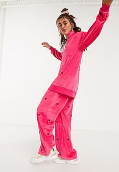 Lazy Oaf straight leg track pants in all over heart embroidered velour co-ord-Pink