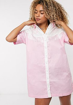 Lazy Oaf western shirt dress with fringing and embroidery-Pink
