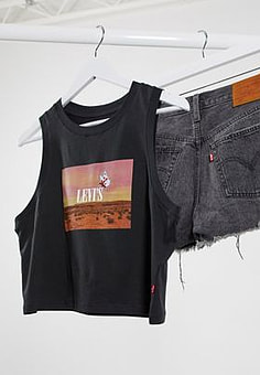 Levi's crop tank with graphic print in black