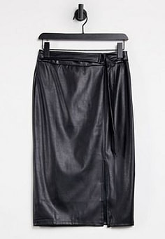 Lipsy faux leather pencil skirt in black