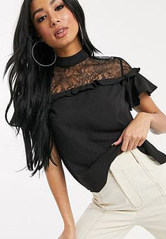 Lipsy lace insert pretty blouse in black