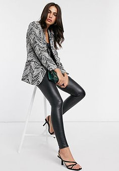 Liquorish blazer in black and white zebra print-Multi