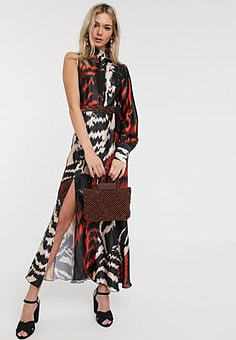 Liquorish satin midaxi dress with one shoulder in abstract print-Multi