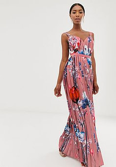 Little Mistress all over printed maxi dress in multi