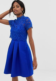 Little Mistress short sleeve mini high neck skater dress with lace upper-Blue