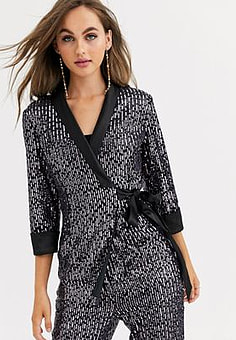 Little Mistress tailored sequin wrap blazer in black co ord