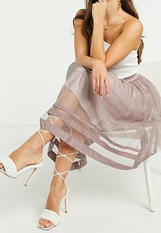 Little Mistress tulle midi skirt in grey