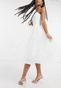 Little Mistress tulle midi skirt in ivory-White