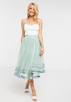 Little Mistress tulle midi skirt in teal-Green