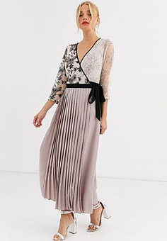 Little Mistress wrap front maxi dress with pleated skirt in mink-Pink