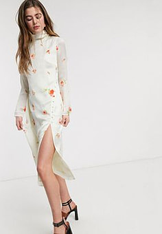 Lost Ink high neck column midi dress with buttons in delicate rose print-Cream