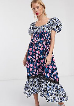 Lost Ink maxi dress with peplum hem and volume sleeves in mixed floral print-Multi
