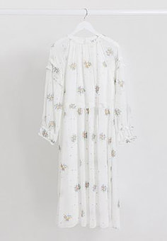 Lost Ink midaxi dress with frill sleeve detail and floral embroidery-White