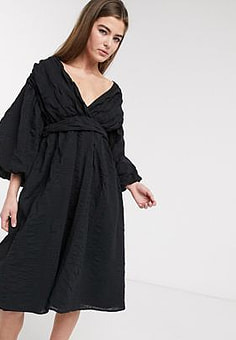 Lost Ink midi dress with balloon sleeves and full skirt in textured fabric-Black