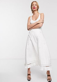 Lost Ink midi skirt with pleated hem and floral applique in cotton-White