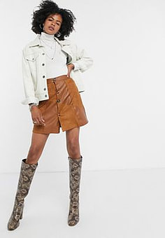 Lost Ink mini skirt in faux suede patchwork-Brown
