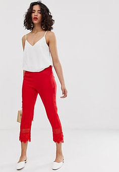 Lost Ink Slim Tailored Trousers With Lace Hem